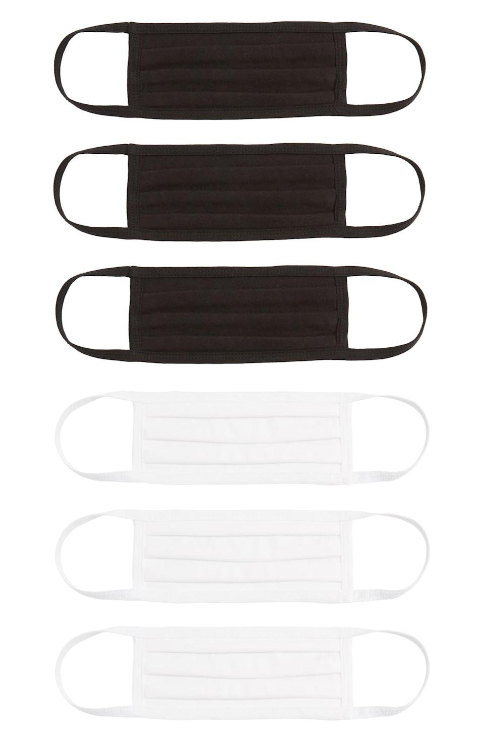 <p>These cotton <span>Nordstrom 6-Pack Adult Pleated Cotton Face Masks</span> ($24) are easy to wash and comfortable to wear.</p>