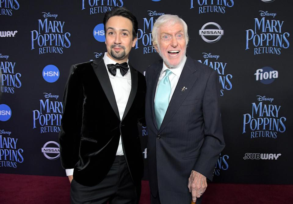 HOLLYWOOD, CA – NOVEMBER 29: Actors Lin-Manuel Miranda (L) and Dick Van Dyke attend Disney's 'Mary Poppins Returns' World Premiere at the Dolby Theatre on November 29, 2018 in Hollywood, California. (Photo by Charley Gallay/Getty Images for Disney)