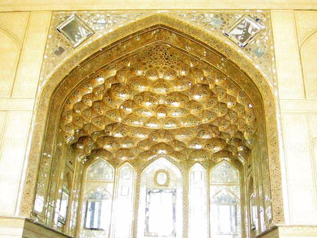 The mirrored dome of Chehel Sotoun Palace in Eshfahan