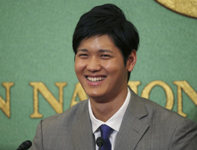 Shohei Ohtani is thinking about the Padres. (AP Photo/Koji Sasahara)