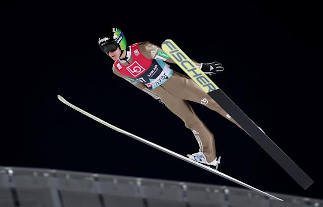Ski Jumping World Cup - Men's HS134 Qualification - Holmenkollen, Oslo, Norway - March 9, 2018. Peter Prevc of Slovenia is seen during official training. NTB Scanpix/Terje Bendiksby via REUTERS ATTENTION EDITORS - THIS IMAGE WAS PROVIDED BY A THIRD PARTY. NORWAY OUT. NO COMMERCIAL OR EDITORIAL SALES IN NORWAY.