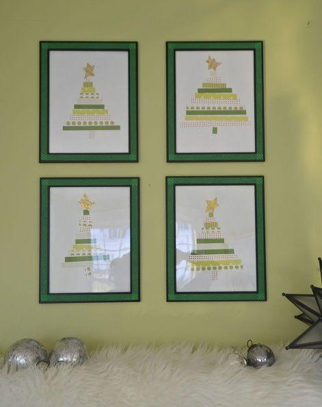 """<p>Since you already presumably like the patterns and colors you've chosen to wrap your holiday gifts in, use the scraps to create graphic Christmas wall art. Here, green, white, and red patterns come together to create four <a href=""""https://www.amazon.com/Americanflat-Pack-Picture-Display-Pictures/dp/B0749PWS43?tag=syn-yahoo-20&ascsubtag=%5Bartid%7C10055.g.2996%5Bsrc%7Cyahoo-us"""" rel=""""nofollow noopener"""" target=""""_blank"""" data-ylk=""""slk:framed"""" class=""""link rapid-noclick-resp"""">framed</a> pieces in a gallery wall.</p><p><a href=""""http://ciburbanity.com/2013/12/19/the-bees-knees-paper-christmas-trees/"""" rel=""""nofollow noopener"""" target=""""_blank"""" data-ylk=""""slk:Get the tutorial at City Suburb Sanity »"""" class=""""link rapid-noclick-resp""""><em>Get the tutorial at City Suburb Sanity »</em></a><br></p>"""