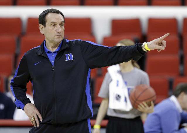 Duke head coach Mike Krzyzewski directs his team during practice at the NCAA college basketball tournament in Raleigh, N.C., Thursday, March 20, 2014. Duke plays Mercer in a second-round game on Friday. (AP Photo/Gerry Broome)