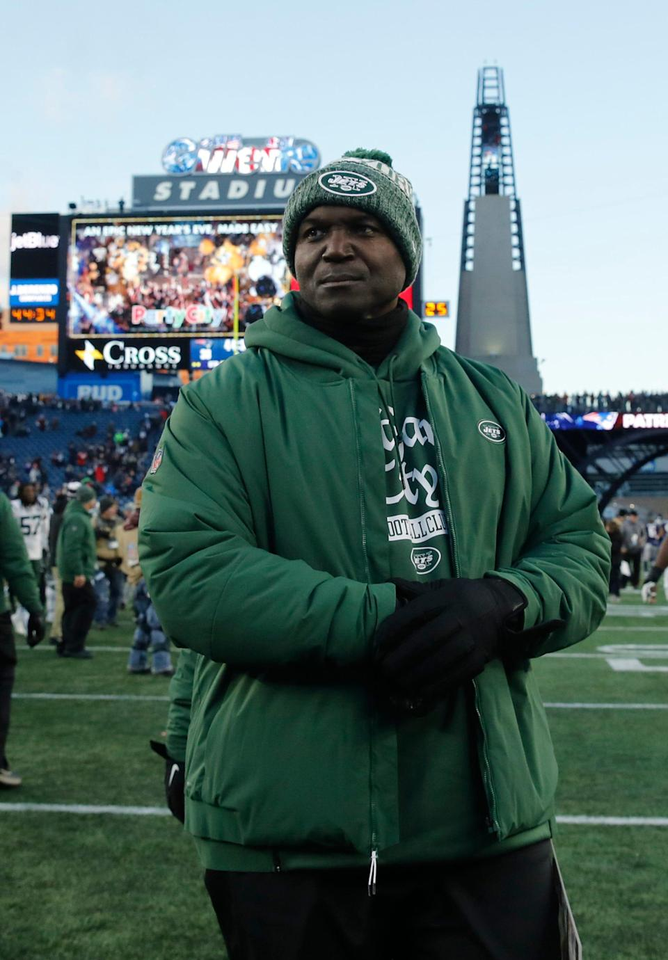 Jets head coach Todd Bowles exits the field after the game against the Patriots at Gillette Stadium, Dec. 30, 2018 in Foxborough, Mass.