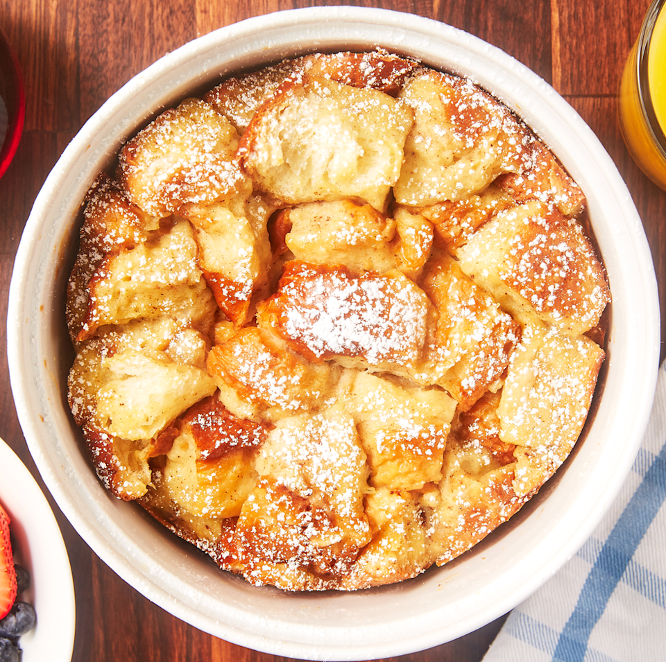 """<p>Perfect topped with a little icing sugar and fruit and (of course) some maple syrup, this Instant Pot recipe is fuss-free and so easy to make! French toast for days. </p><p>Get the <a href=""""https://www.delish.com/uk/cooking/recipes/a35306546/instant-pot-french-toast-recipe/"""" rel=""""nofollow noopener"""" target=""""_blank"""" data-ylk=""""slk:Instant Pot French Toast"""" class=""""link rapid-noclick-resp"""">Instant Pot French Toast</a> recipe.</p>"""