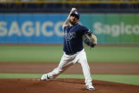 Tampa Bays Rays pitcher Louis Head works from the mound against the Detroit Tigers during the first inning of a baseball game Thursday, Sept. 16, 2021, in St. Petersburg, Fla. (AP Photo/Scott Audette)