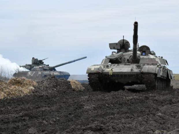 Ukrainian tanks are seen during drills at an unknown location near the border of Russian-annexed Crimea in this image released by the press service of the general staff of the Ukrainian armed forces on Wednesday.