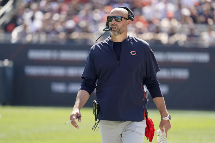 Chicago Bears' head coach Matt Nagy walks the sidelines during the first half of an NFL football gamea gainst the Cincinnati Bengals Sunday, Sept. 19, 2021, in Chicago. (AP Photo/Nam Y. Huh)