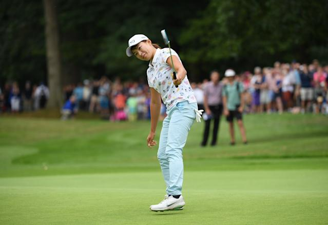 "<h1 class=""title"">hinako shibuno AIG Women's British Open - Day Four</h1> <div class=""caption""> WOBURN, ENGLAND - AUGUST 04: Hinako Shibuno of Japan holes the winning putt on the 18th green during Day Four of the AIG Women's British Open at Woburn Golf Club on August 04, 2019 in Woburn, England. (Photo by Ross Kinnaird/Getty Images) </div> <cite class=""credit"">Ross Kinnaird</cite>"