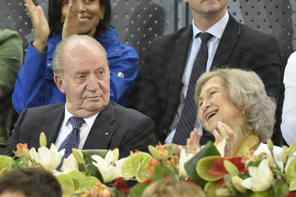 MADRID, SPAIN - MAY 11: King Juan Carlos of Spain and Queen Sofia of Spain attend Mutua Madrid Open at Caja Magica on May 11, 2019 in Madrid, Spain. (Photo by Europa Press Entertainment/Europa Press via Getty Images)