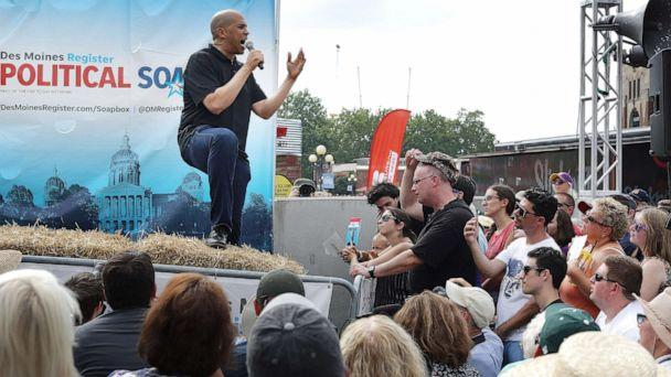 PHOTO: Democratic presidential candidate Sen. Cory Booker delivers a 20-minute campaign speech at the Des Moines Register Political Soapbox at the Iowa State Fair August 10, 2019, in Des Moines, Iowa. (Chip Somodevilla/Getty Images)
