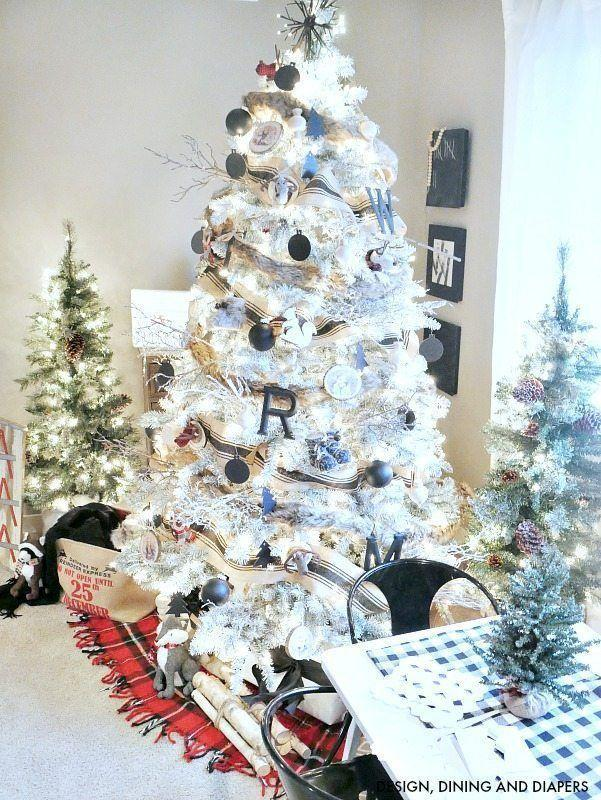 """<p>Jazz up a white tree with natural wood touches, black and white ornaments, and an oversized grain sack ribbon</p><p><strong><em>Get the tutorial at <a href=""""https://tarynwhiteaker.com/black-white-woodland-christmas-tree/"""" rel=""""nofollow noopener"""" target=""""_blank"""" data-ylk=""""slk:Taryn Whitaker Designs"""" class=""""link rapid-noclick-resp"""">Taryn Whitaker Designs</a>. </em></strong></p><p><a class=""""link rapid-noclick-resp"""" href=""""https://www.amazon.com/LaRibbons-Burlap-Fabric-Craft-Ribbon/dp/B07Y1CC2KN?tag=syn-yahoo-20&ascsubtag=%5Bartid%7C10070.g.2025%5Bsrc%7Cyahoo-us"""" rel=""""nofollow noopener"""" target=""""_blank"""" data-ylk=""""slk:SHOP BURLAP RIBBON"""">SHOP BURLAP RIBBON</a></p>"""
