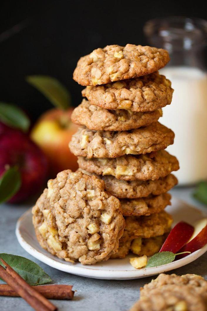 """<p>We hope you've got a tall glass of milk at the ready! These cinnamon-spiced cookies are one decadent dessert.</p><p><strong>Get the recipe at <a href=""""https://www.cookingclassy.com/apple-cinnamon-oatmeal-cookies/"""" rel=""""nofollow noopener"""" target=""""_blank"""" data-ylk=""""slk:Cooking Classy"""" class=""""link rapid-noclick-resp"""">Cooking Classy</a>.</strong> </p>"""