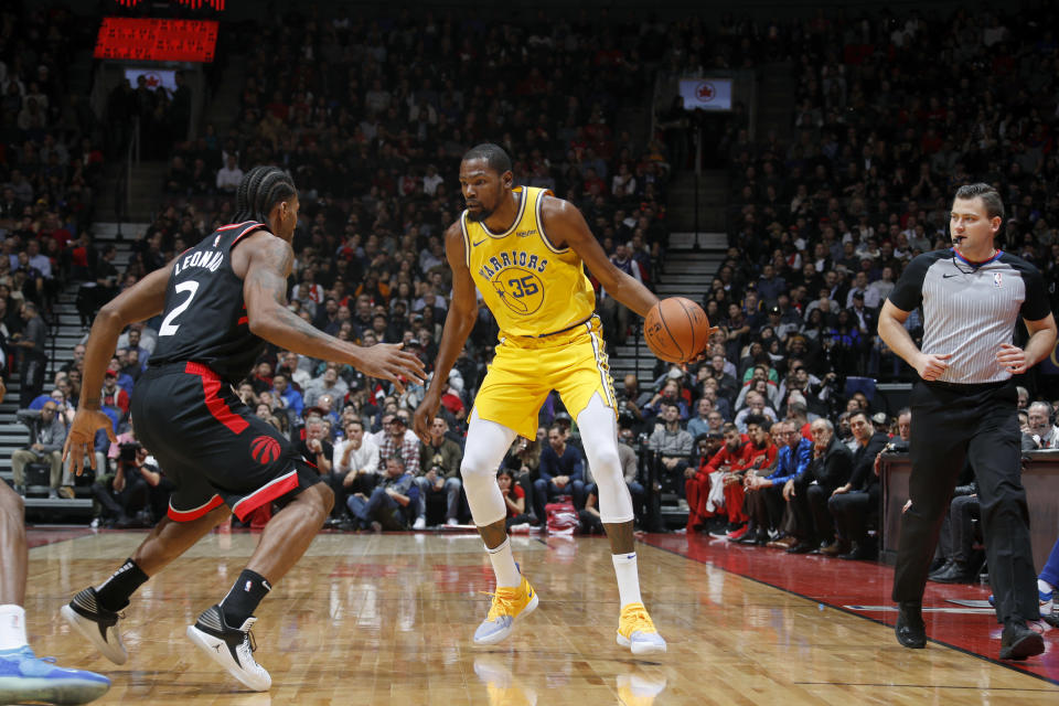 Kawhi Leonard's Raptors got the best of Kevin Durant's Warriors in an epic battle of two of the NBA's best. (Getty)