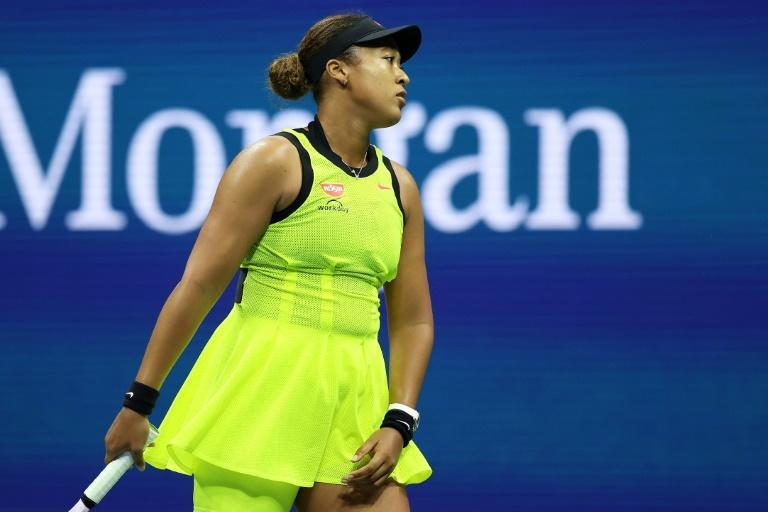 Japan's Naomi Osaka reacts during her third-round loss to Canadian Leylah Fernandez in the third round of the US Open (AFP/ELSA)