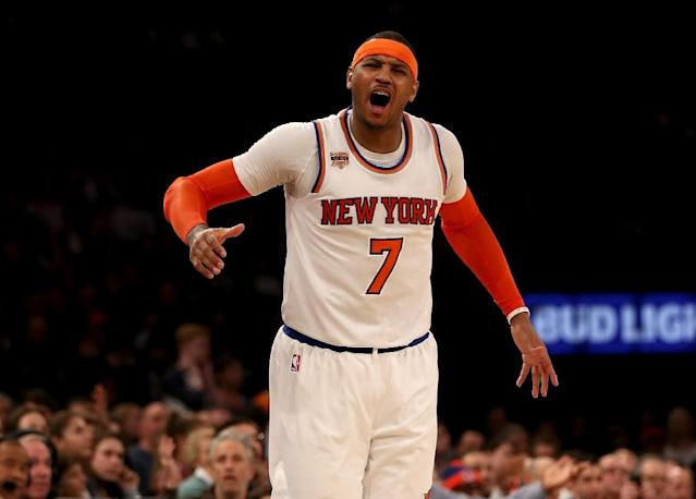 Carmelo Anthony will play in his 10th career NBA All-Star contest, the eight consecutive appearance (AFP Photo/ELSA)
