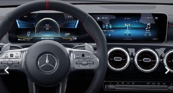 The steering wheel view of the Mercedes-AMG CLA 35.
