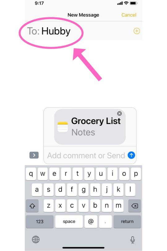 """<p>The shared note will automatically populate in the text box. In the """"To"""" section of your messages, type in who you would like to send your shared note to. You can <a href=""""https://www.popsugartech.com/Texting-Etiquette-34170588"""" target=""""_blank"""" class=""""ga-track"""" data-ga-category=""""Related"""" data-ga-label=""""https://www.popsugar.com/tech/Texting-Etiquette-34170588"""" data-ga-action=""""In-Line Links"""">include as many people as you like</a>.</p>"""