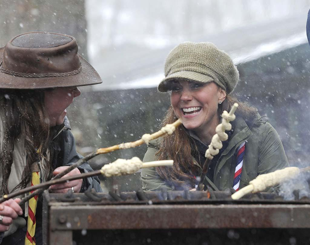 Catherine, Duchess of Cambridge, traded in her royal digs (and threads!) for a day of roughing it. The former Kate Middleton attended a training camp for people who want to work with scouts, held at the Great Tower Scout Camp in the U.K.'s Windmere, Cumbria, where there's sailing, canoeing, rope-climbing, archery, and, of course, preparing your own meals. (3/22/2013)