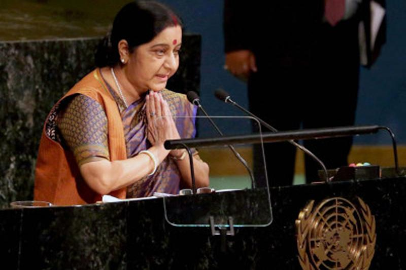 File photo of Sushma Swaraj speaking at the UN General Assembly.