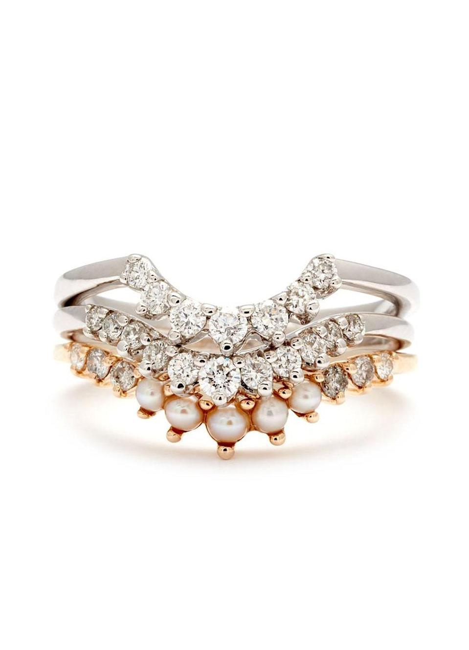 """Rotating through a few different nesting bands is a great way to express your personal style or change the look of your engagement ring. $4250, Anna Sheffield. <a href=""""https://www.annasheffield.com/collections/nesting/products/nesting-suite-no-08"""" rel=""""nofollow noopener"""" target=""""_blank"""" data-ylk=""""slk:Get it now!"""" class=""""link rapid-noclick-resp"""">Get it now!</a>"""
