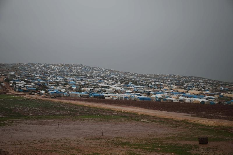 A general view of a camp for displaced people in the village of Atme, in Syria's mostly rebel-held northern Idlib province on January 8, 2019