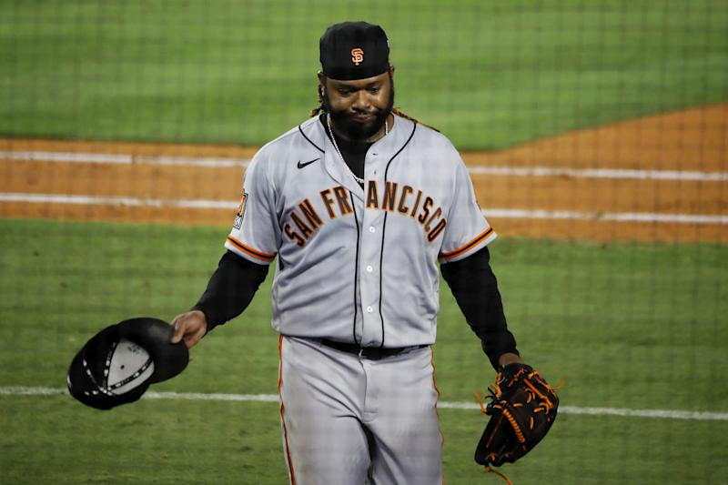 LOS ANGELES, CALIFORNIA - AUGUST 08: Johnny Cueto #47 of the San Francisco Giants walks off the field after giving up a three-run home run to Justin Turner #10 of the Los Angeles Dodgers during the sixth inning at Dodger Stadium on August 08, 2020 in Los Angeles, California. (Photo by Katelyn Mulcahy/Getty Images)