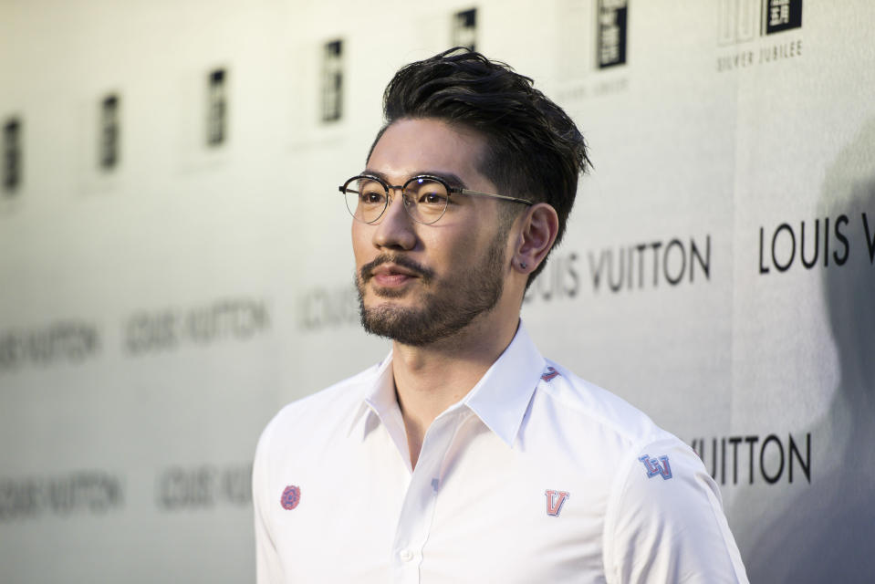 Godfrey Gao poses at the red carpet during the opening night of the Time Capsule Exhibition by Louis Vuitton on 21 April 2017. (Photo by studioEAST/Getty Images)