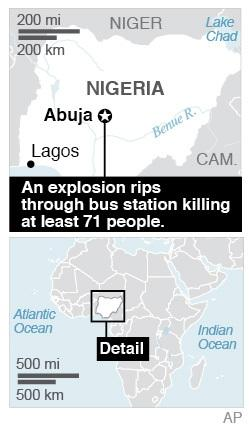 Map locates Abuja, Nigeria where an explosion at a bus stop killed at least 71 people; 1c x 2 3/4 inches; 46.5 mm x 69 mm;
