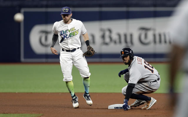 Tampa Bay Rays second baseman Eric Sogard, left, forces out Detroit Tigers' Dawel Lugo, right, at second base and relays the throw to first in time to turn a double play against Miguel Cabrera during the fourth inning of a baseball game Saturday, Aug. 17, 2019, in St. Petersburg, Fla. (AP Photo/Chris O'Meara)