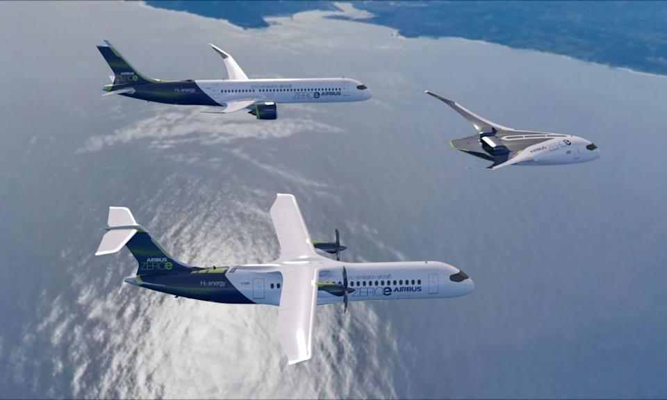An artists impression of three Airbus ZEROe concept aircraft, which are hydrogen hybrids