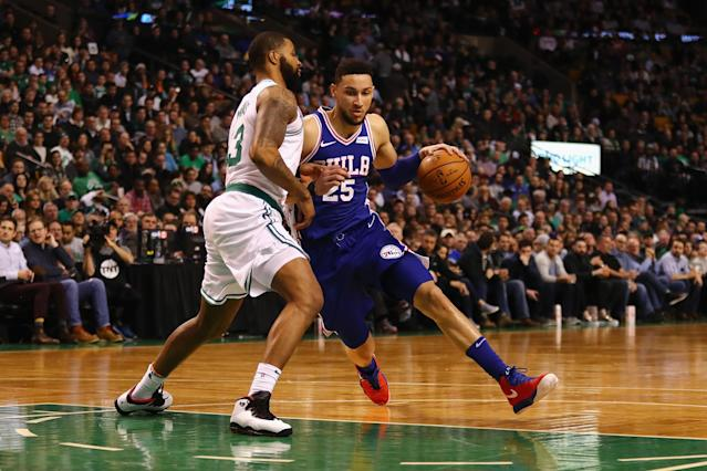 "The Celtics will have their hands full trying to defend 76ers rookie <a class=""link rapid-noclick-resp"" href=""/nba/players/5600/"" data-ylk=""slk:Ben Simmons"">Ben Simmons</a>, who nearly averaged a triple-double in Round 1. (Getty)"