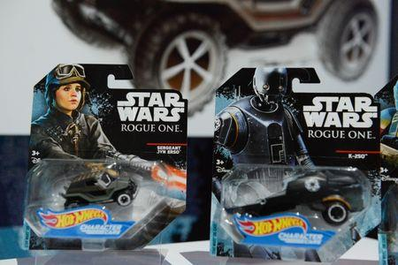 Some of Mattel's Star Wars merchandise is seen at the 114th North American International Toy Fair in New York City