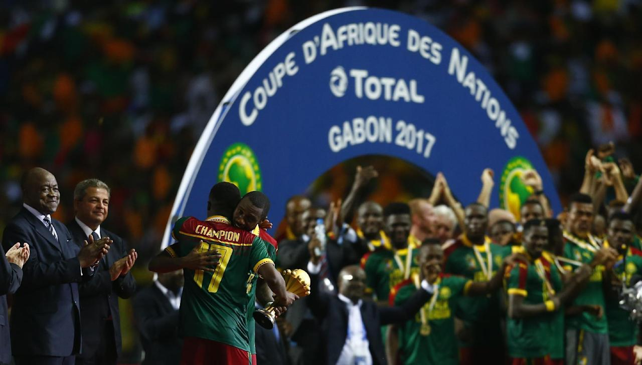 Football Soccer - African Cup of Nations - Final - Egypt v Cameroon - Stade d'Angondjé - Libreville, Gabon - 5/2/17 Cameroon's Benjamin Moukandjo celebrates with the trophy after winning the African Cup of Nations Reuters / Amr Abdallah Dalsh Livepic