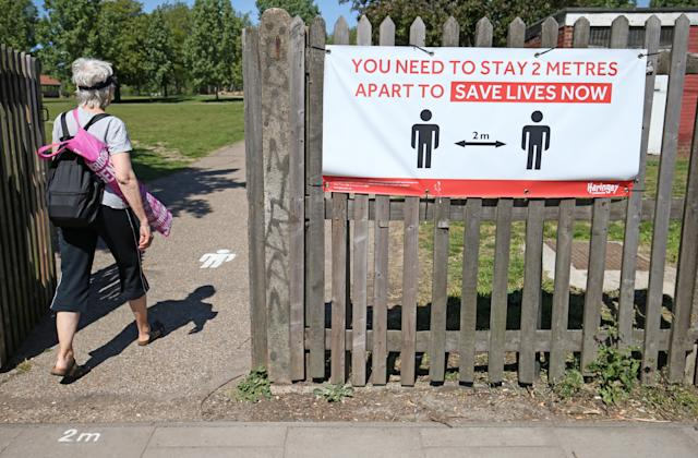 Social distancing signs in Finsbury Park, London. (Getty)