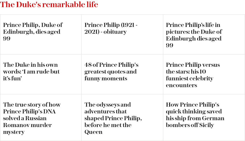 Prince Philip's remarkable life - Read more