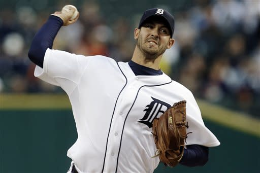 Detroit Tigers starting pitcher Rick Porcello throws against the Kansas City Royals in the first inning of a baseball game in Detroit, Wednesday, Sept. 26, 2012. (AP Photo/Paul Sancya)