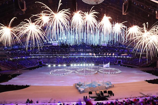 SOCHI, RUSSIA - FEBRUARY 23: A view of fireworks inside Fisht Stadium as part of the 2014 Sochi Winter Olympics Closing Ceremony at Fisht Olympic Stadium on February 23, 2014 in Sochi, Russia. (Photo by Joe Scarnici/Getty Images)