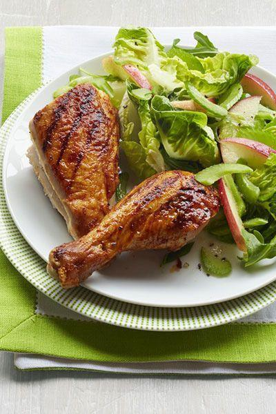 """<p>Whole chickens aren't just for oven-roasting — this grilled version makes a delicious summer dinner without heating up the kitchen.</p><p><em><a href=""""https://www.goodhousekeeping.com/food-recipes/a14923/grilled-spiced-chicken-crunchy-apple-salad-recipe-wdy0914/"""" rel=""""nofollow noopener"""" target=""""_blank"""" data-ylk=""""slk:Get the recipe for Grilled Spiced Chicken with Crunchy Apple Salad »"""" class=""""link rapid-noclick-resp"""">Get the recipe for Grilled Spiced Chicken with Crunchy Apple Salad »</a></em><br></p>"""