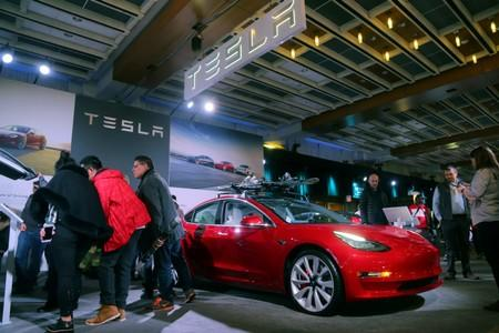 FILE PHOTO: A Tesla Model 3 car is displayed at the Canadian International AutoShow in Toronto