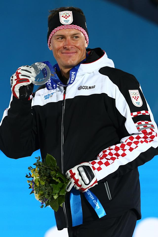 SOCHI, RUSSIA - FEBRUARY 15: Silver medalist Ivica Kostelic of Crioatia celebrates on the podium during the medal ceremony for the Alpine Skiing Men's Super Combined on day 8 of the Sochi 2014 Winter Olympics at Medals Plaza on February 15, 2014 in Sochi, Russia. (Photo by Streeter Lecka/Getty Images)