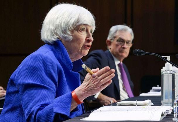 PHOTO: Treasury Secretary Janet Yellen, left, and Federal Reserve Chairman Jerome Powell, appear before a Senate Banking, Housing and Urban Affairs Committee hearing on the CARES Act on Capitol Hill, Sept. 28, 2021 in Washington. (Kevin Dietsch/Pool via AP)