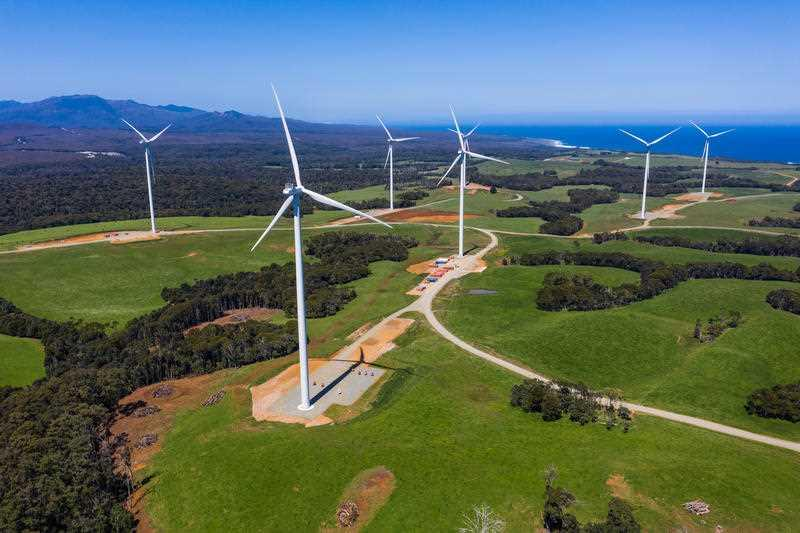 A wind farm in Tasmania is pictured.