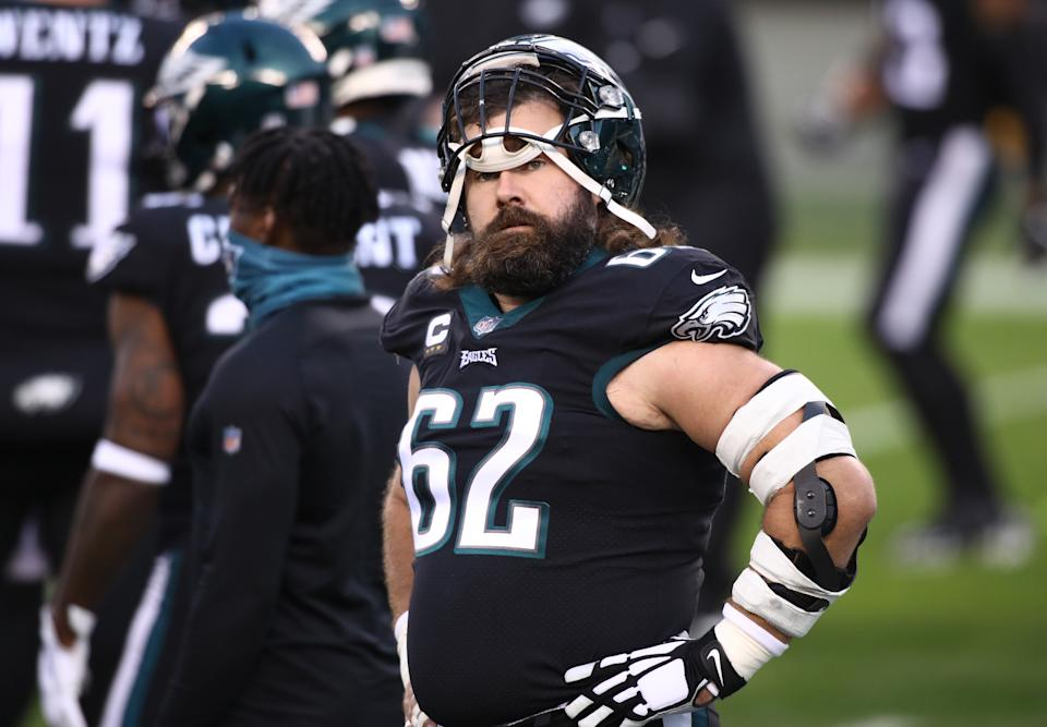 Jason Kelce denies there was any sideline confrontation after head coach Doug Pederson benched Jalen Hurts on Sunday night. (Photo by Kyle Ross/Icon Sportswire via Getty Images)
