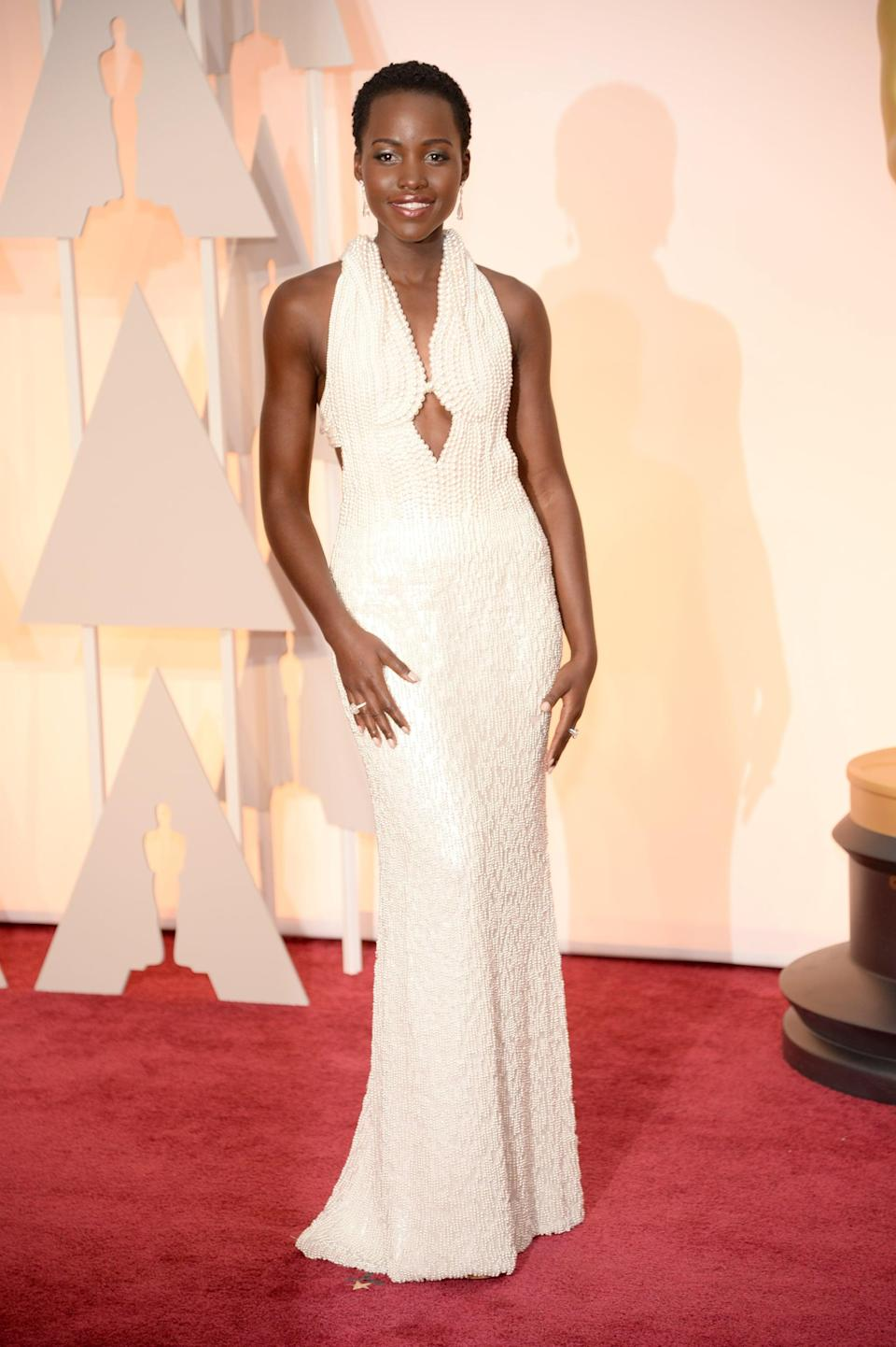 <p>Lupita showed up on the red carpet wearing a custom Calvin Klein Collection gown adorned with 6,000 pearls. </p>