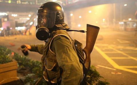<span>Hong Kong's protest movement escalated violently and was met with tear gas</span> <span>Credit: REX </span>