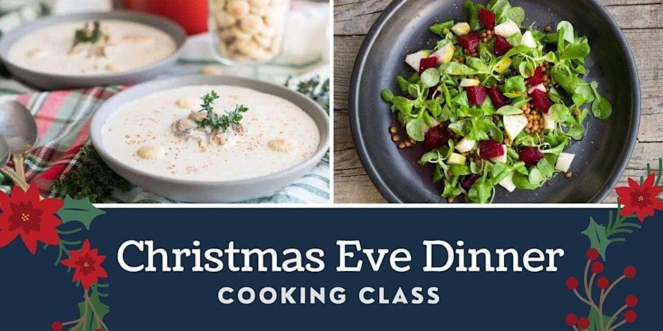 "<p>Did you know that it's an Irish tradition to make oyster stew on Christmas Eve? <a href=""https://www.eventbrite.com/e/christmas-eve-dinner-virtual-cooking-class-tickets-129155663065?aff=ebdssbonlinesearch"" rel=""nofollow noopener"" target=""_blank"" data-ylk=""slk:Home cook Angie"" class=""link rapid-noclick-resp"">Home cook Angie</a> will introduce herself and walk the class through every step to prepare an oyster stew and spinach and beet salad. It's a Catholic tradition to not eat meat on Christmas Eve, so when Irish settlers arrived in America in the 1800s, they had plenty of oysters and the rest is history. You'll purchase all of the ingredients beforehand and will be ready to get festive to start your own tradition.</p><p>When? December 19, 2020 6:30PM - 7:30PM EST.</p>"