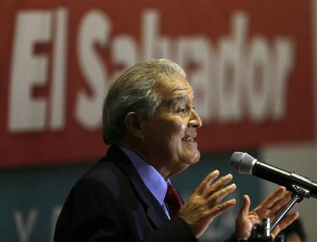 Sanchez Ceren, presidential candidate of the FMLN, speaks to the media during a news conference in San Salvador