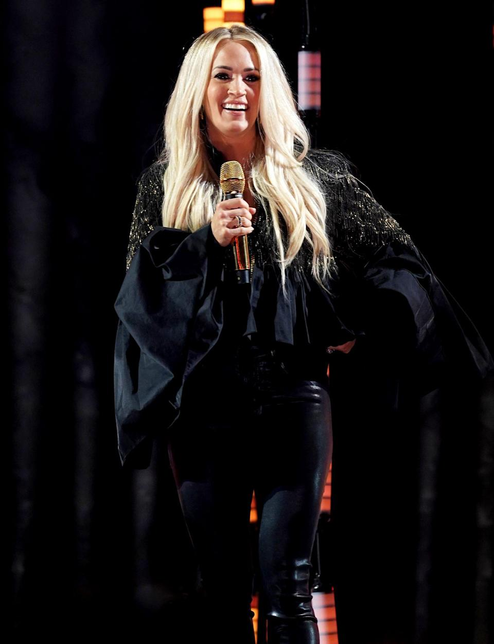 <p>Carrie Underwood rehearses for the 2021 Latin American Music Awards at the BB&T Center on Wednesday in Sunrise, Florida.</p>