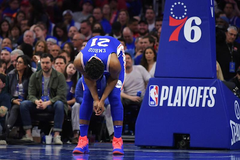 Joel Embiid Of The Philadelphia 76ers Looks Down At The Court Embiid Who Missed